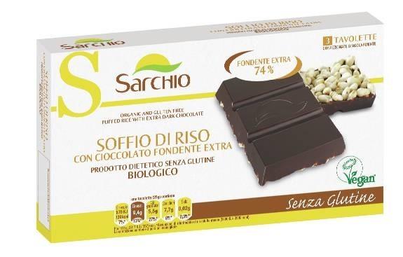 LOGO_Organic, Vegan and gluten free dark chocolate bars with puffed rice.