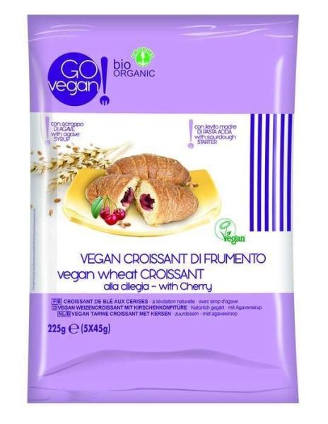 LOGO_Bio Vegan Weizen-Croissant mit Kirschenkonfitüre. 45 g Packung von je 5 Stueck