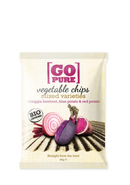 LOGO_GoPure organic vegetable chips mixed varieties Chioggia beetroot, blue potato & red potato 90g