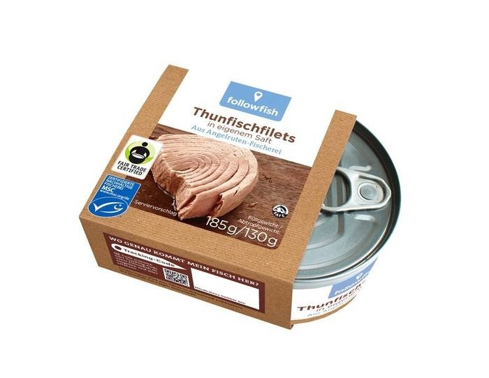 LOGO_followfish Fairtrade Tuna Filets 185g