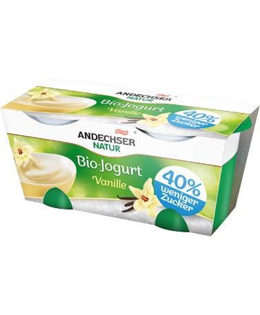 LOGO_Zuckerreduzierter ANDECHSER NATUR Bio-Jogurt Vanille im 2x125g Cluster