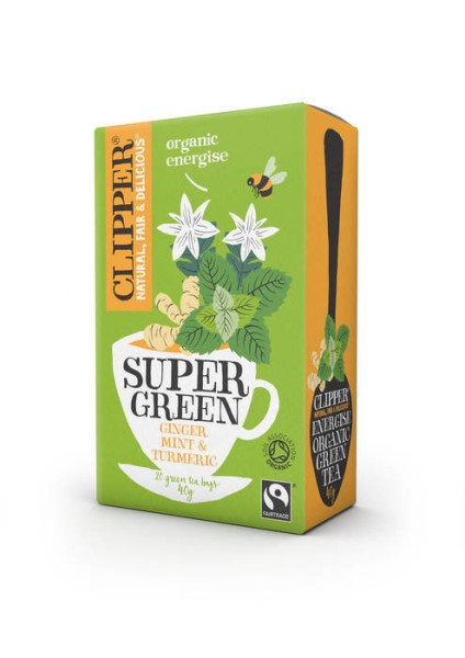 LOGO_CLIPPER Organic Super Green Energise Tea - Ginger, Mint & Turmeric