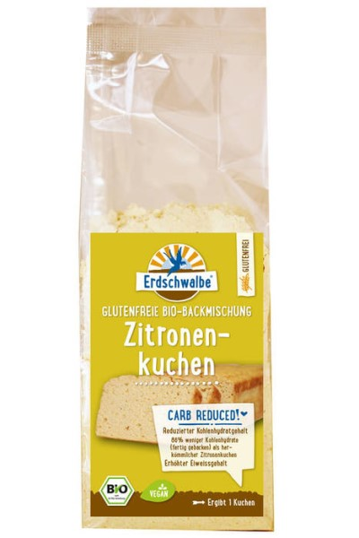 LOGO_Erdschwalbe Lemon Cake. Gluten-free. Reduced carbohydrate content.