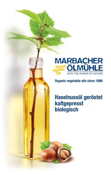 LOGO_Haselnussöl aus gerösteten Haselnüssen, kaltgepresst, biologisch