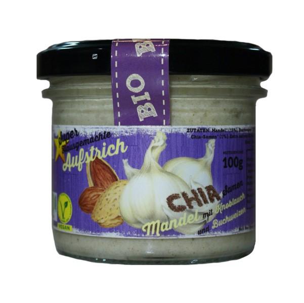 LOGO_MANDEL - KNOBLAUCH - SUPER-AUFSTRICH  100% BIO-VEGAN mit den Superfood Chía und Buchweizen, glutenfrei.