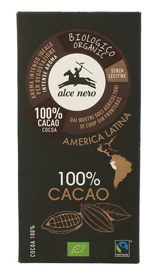 LOGO_Alce Nero Zartbitterschokolade mit 100% Kakaoanteil