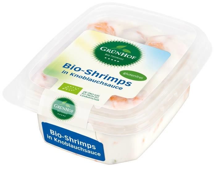 LOGO_Grünhof Bio-Shrimps in Knoblauchsauce mit 40% Shrimps und 10% Knoblauch.