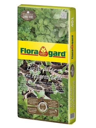 LOGO_Floragard Bio Potting Soil for Herbs and Sowing without peat