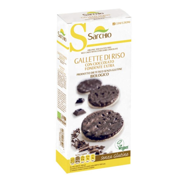 LOGO_Organic, Vegan and Gluten free rice cakes coated with dark chocolate.