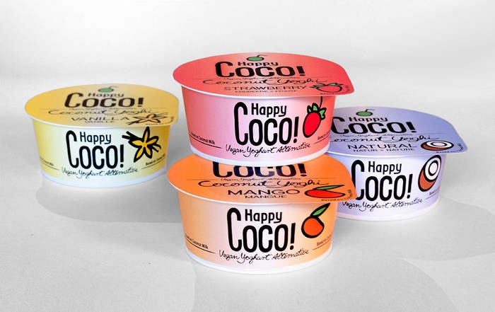 LOGO_125 g // 350 g Happy Coco Yoghis: Coconutmilk-desserts Vanillia, Mango, Strawberry, Natural - organic vegan