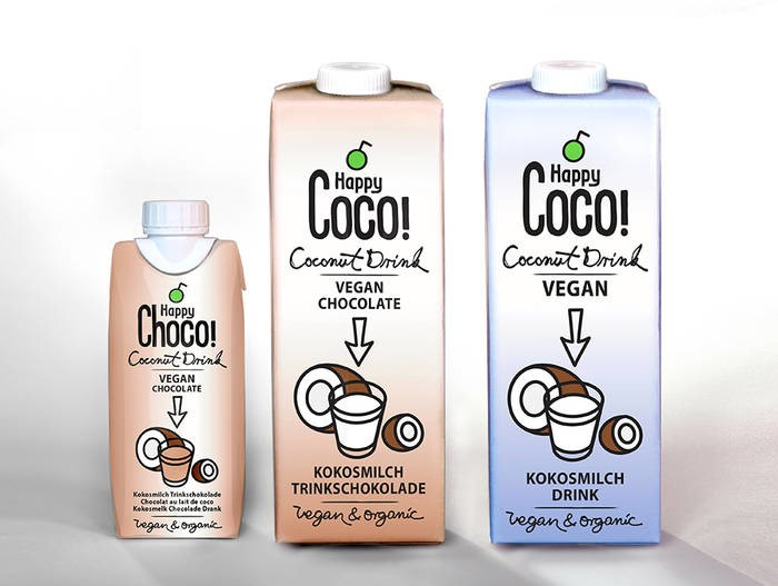 LOGO_1 Liter or 330 ml drinkable Coconut milk as milk replacement in natural or chocolate taste variety. Delicious 100% vegan and lactose-free organic quality.