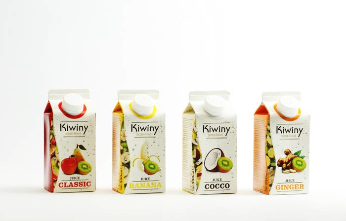 LOGO_4x varieties of Kiwiny Juices: Classic, Banana, Ginger, Cocco