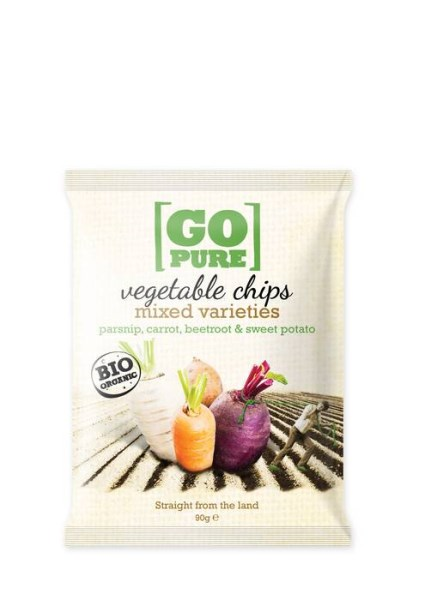 LOGO_GoPure organic vegetable chips mixed varieties parsnip, carrot, beetroot & sweet potato, 90g