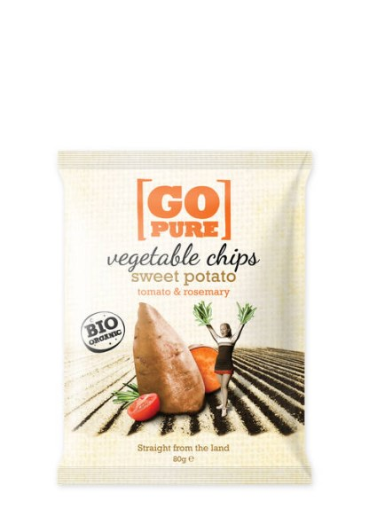 LOGO_GoPure organic vegetable chips sweet potato, tomato & rosemary, 80g