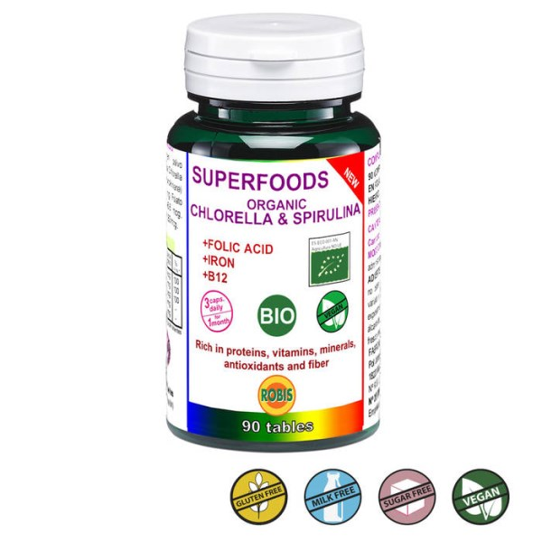 LOGO_SUPERFOOD, ORGANIC CHLORELLA & SPIRULINA