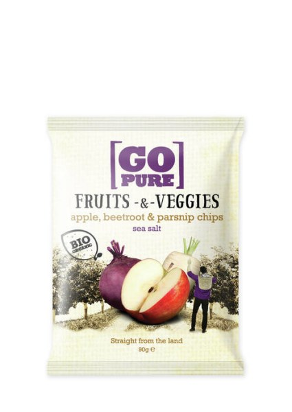 LOGO_GoPure organic Fruits & Veggies apple, beetroot & parsnip chips sea salt 90g