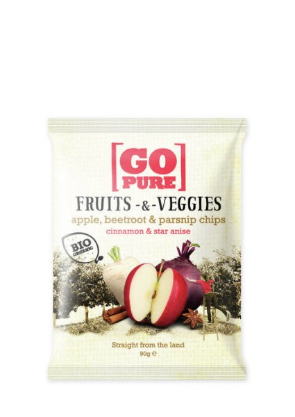 LOGO_GoPure organic Fruits & Veggies apple, beetroot & parsnip chips cinnamon & star anise 90g