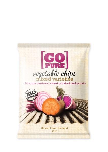 LOGO_GoPure organic vegetable chips mixed varieties Chioggia beet, sweet potato & red potato 90g