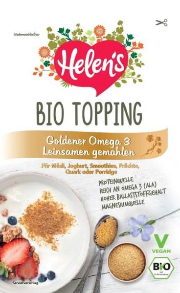LOGO_BIO TOPPING - Goldener Omega 3 Leinsamen gemahlen