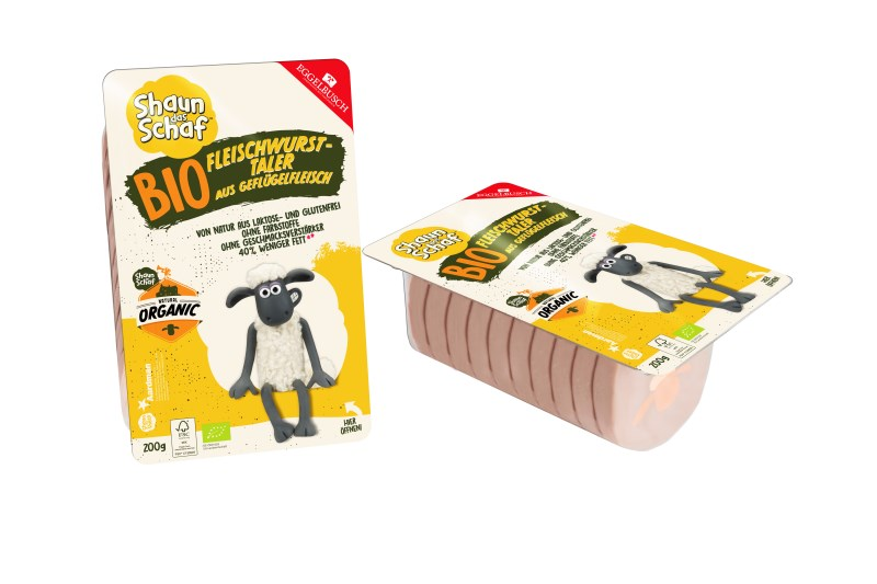 LOGO_Shaun the sheep Organic meat sausage Taler from poultry meat with Shaun motif