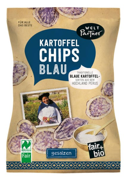 LOGO_Potato chips blue, salty, fair+bio, vegan, Naturland Fair certified, 100g