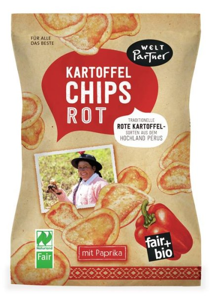 LOGO_Kartoffelchips Rot, gesalzen mit Paprika, fair+bio, vegan, Naturtland Fair zertifiziert, 100g