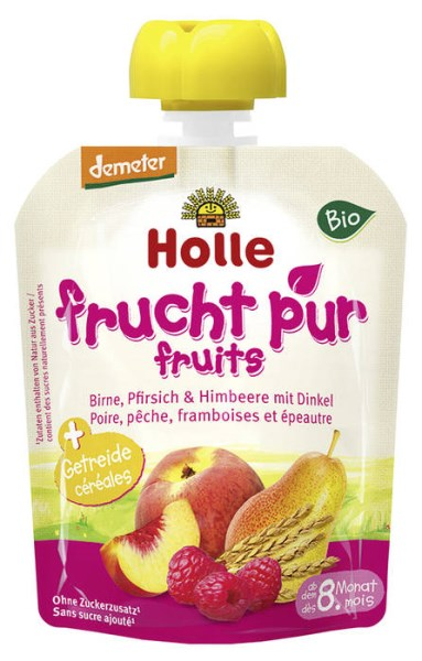 LOGO_Holle Pouchy Pear, Peach & Raspberries with spelt, 97 % fruit + cereals, from 8 months