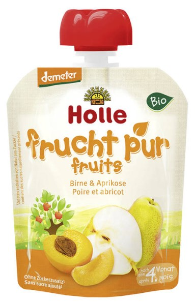 LOGO_Holle Pouchy Pear with Apricot, 100 % fruit, after 4 months