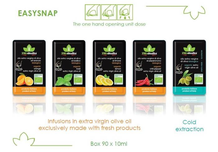 LOGO_Organic Flavoured Oil and Extra Virgin Olive Oil in the Easy-snap package.