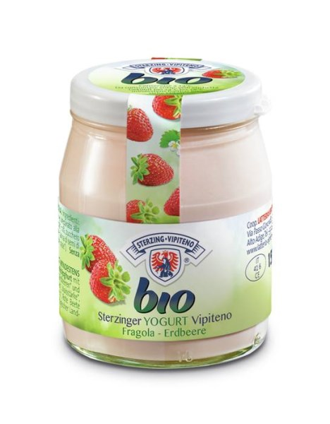 LOGO_Organic yogurt with strrawberry in a glass jarr 150g