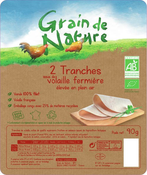 LOGO_Organic free range poultry meat slices Grain de Nature, 100% fillet