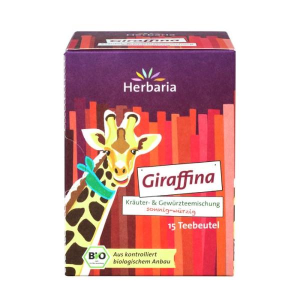 LOGO_Giraffina - Bio-Kräuter- & Gewürzteemischung mit Hibiskus, Hagebutte und süßen Brombeerblättern, sonnig-würzig.
