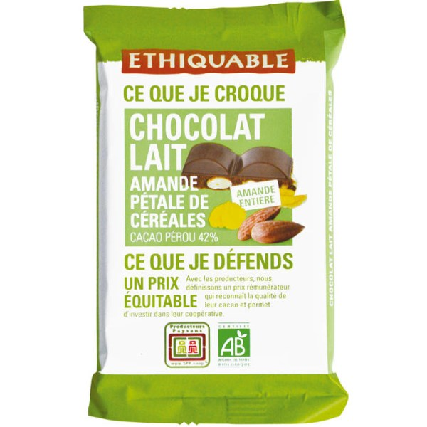 LOGO_ETHIQUABLE MILK CHOCOLATE WITH 42% COCOA WITH ALMONDS AND CEREAL FLAKES – 100 G