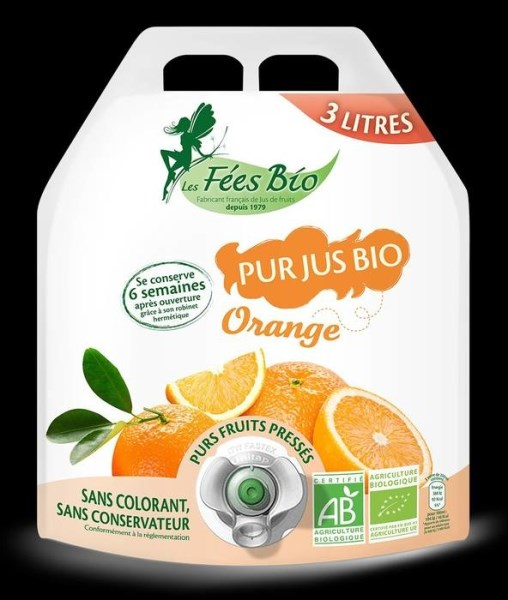 LOGO_Naturally pure organic orange juice in an innovative 3l pouch