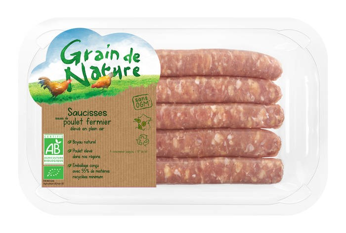 LOGO_Organic free range chicken sausages Grain de Nature, natural gut