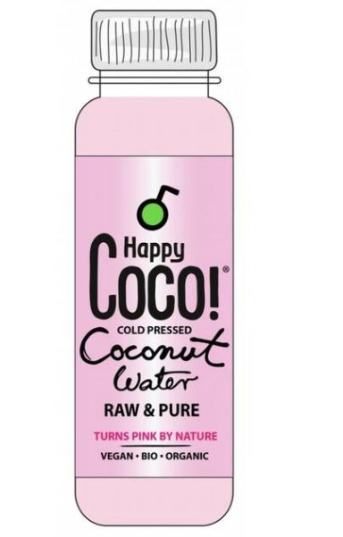 LOGO_250 ml Happy Coco Coconutwater, Raw in compostable bottle