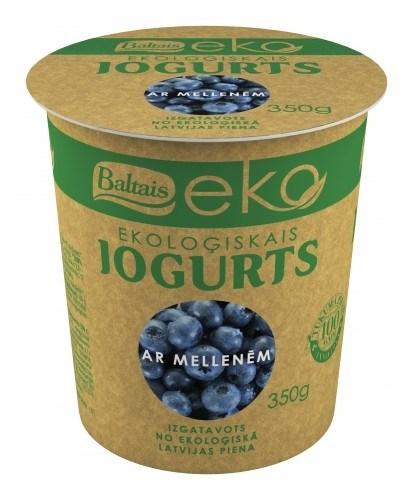 LOGO_Baltais EKO yogurt 350g, (blueberries; raspberries; cherries, musli, natural)