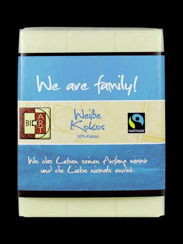 LOGO_BioArt Motto Schoko We are family 70g, FT-Cert (white coconut)