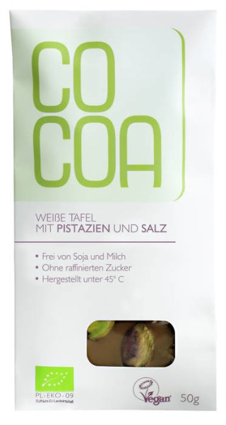 LOGO_COCOA BIO white bar with pistachios and salt, 50g