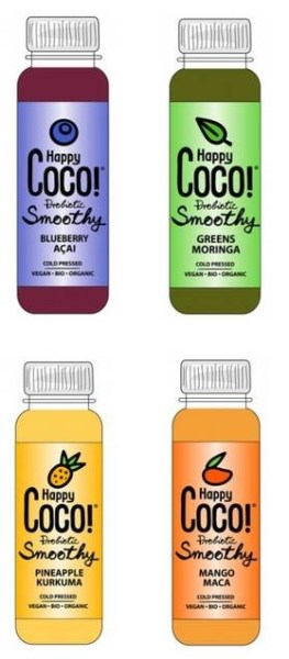 LOGO_Happy Coco Vegan Probiotic Smoothy Blueberry / Acai / Mango / Turmeric in compostable bottle
