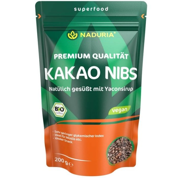 LOGO_NADURIA KAKAO NIBS Natürlich Gesüßt mit Yaconsirup