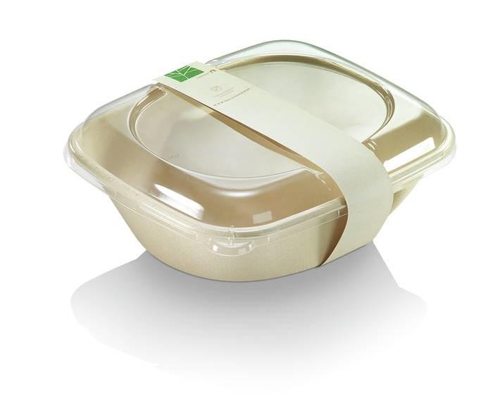 LOGO_naturesse® Take-away-Schalen in Beige: aus ungebleichtem Zuckerrohr, PLA und Paperwise