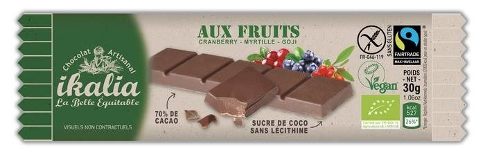 LOGO_Vegan, Gluten-free, Fairtrade and Organic chocolate bar with Superfruits