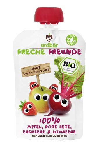 """LOGO_erdbär Freche Freunde """"100% Apfel, Rote Bete, Erdbeere, Himbeere"""""""