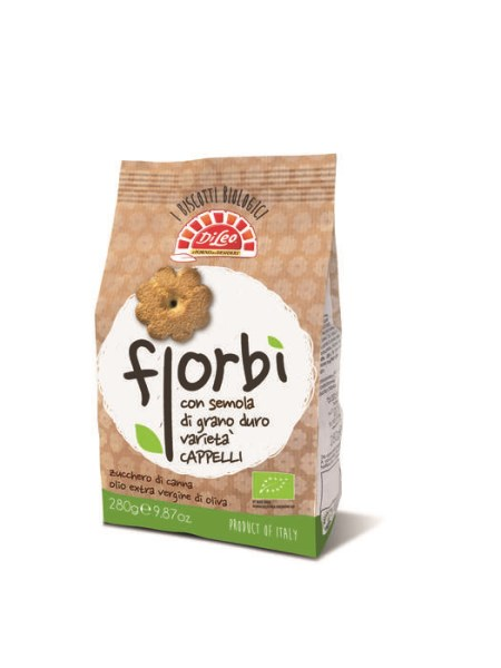 LOGO_Fiorbì organic biscuits of double milled durum wheat semolina Cappelli variety with extra virgin olive oil.