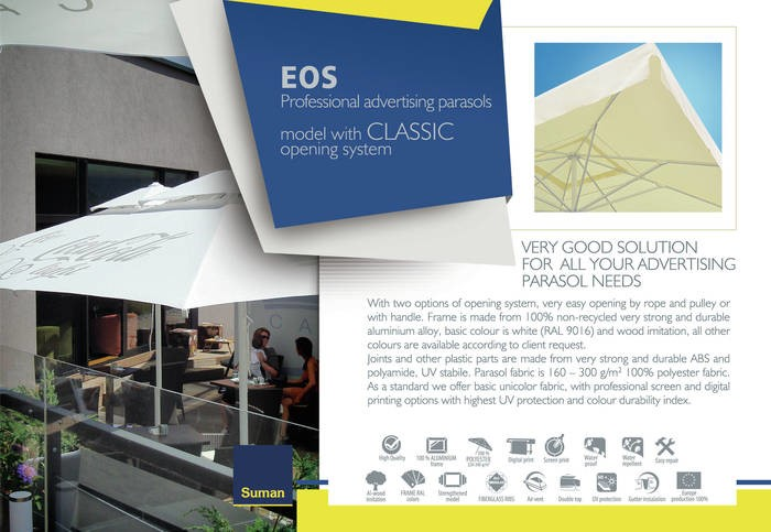 LOGO_EOS Professional advertising parasols – model with CLASSIC opening system