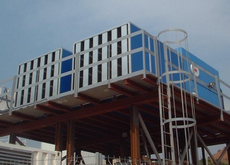 LOGO_EWK-DC, Kühlturm für geschlossenen Kühlkreislauf mit internem Rohrbündel-Wärmetauscher und Radial-Ventilator