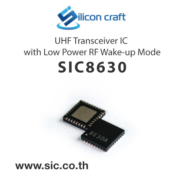 LOGO_SIC8630 UHF Transceiver IC with Low Power RF Wake-up Mode
