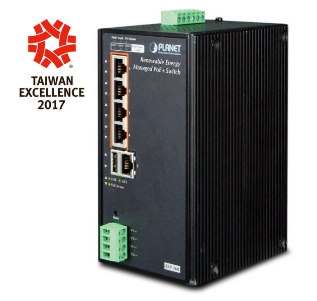 LOGO_Industrial Renewable Energy 4-Port 10/100/1000T 802.3at PoE+ Managed Ethernet Switch BSP-360