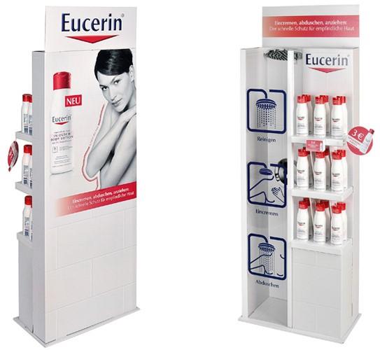 LOGO_Displaylösung im Duschkabinen-Look für die In-Dusch Body Lotion von Eucerin®